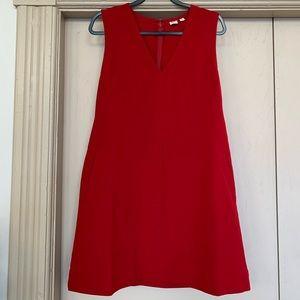 Gap Red V-Neck Sleeveless Dress With Pockets